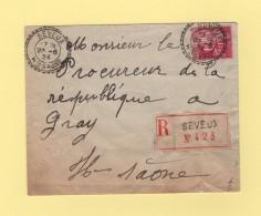 Seveux - Haute Saone - 1934 - Recommande - Storia Postale