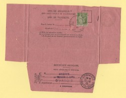 Servance - Haute Saone - Avis De Reception - Arbois - Jura - 1938 - Type Paix - Marcophilie (Lettres)