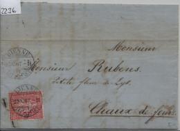 1867 Sitzende Helvetia/Helvétie Assise 38/30 - Stempel: Bienne Nach Chaux-de-Fonds 23.XI.67 - Briefe U. Dokumente