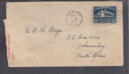 USA 1932 Washington Mt Lennon 5c,  Used 1941 NEWARK N.J. > S.Africa, SA Censor Label