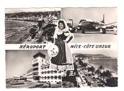 06.- AEROPORT NICE-COTE D' AZUR. Tour De Contrôle , Avion, Costume Folklorique Gallus Amarré. - Aerodrome