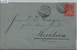 1871 Sitzende Helvetia/Helvétie Assise 38/30 - Stempel: Basel Nach Steckborn Via Müllheim (Von Der Mühll & Söhne) - 1862-1881 Helvetia Assise (dentelés)