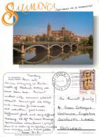 Cathedral And Bridge, Salamanca, Spain Postcard Posted 2000 Stamp - Salamanca