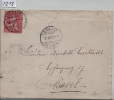 1882 Sitzende Helvetia/Helvétie Assise 38/30  - Stempel: St. Gallen Nach Basel 16.II.82 - 1862-1881 Sitzende Helvetia (gezähnt)