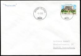 (1717) Aland, Drucksache Aus JURMO -Aland Vom 1.2.1990, Erster Einsatztag Neuer Stempel, MiNr. 32 EF, Rathaus - Aland