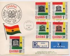 Ghana 1966, Registered FDC, UNESCO, Complete Serie, High Value - Ghana (1957-...)