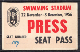 OLYMPIC 1956 MELBOURNE,AUSTRALIA,PRESS - Olympische Spelen