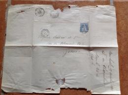Lettre Ambulant Circulaire N° 1.  Cormondrèche à Genève 20 Oct. 1866 / Timbre Papier Blanc 31 / Stempel  4202, 5062 - Storia Postale