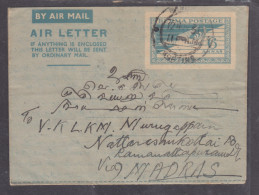Burma 1951 Air Letter, RANGOON SORTING C.d.s. > NATTARASANKOTAI C.d.s. - Myanmar (Birma 1948-...)