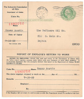 ScUY7 Preprinted Paid Reply Postal Card Injury Claim Industrial Commission Ohio 1929 - Postal History