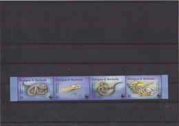 ANTIGUA & BARBUDA 2001 WWF Imperforated Serie With Snakes MNH. - W.W.F.