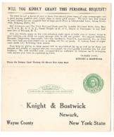 UY7 Preprinted Paid Reply Postal Card Knight & Bostwick NY 1920 Help Wanted Grant A Request - Postal History