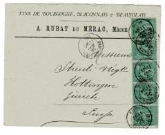 Sage Lettre De Dijon Pour La Suisse Vins De Bourgone - Postmark Collection (Covers)