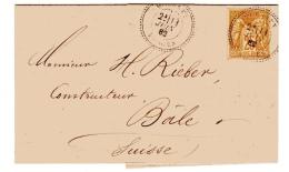 Sage Lettre De Moussey Vosges Pour La Suisse - Postmark Collection (Covers)