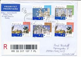 Registered Cover - 1 February 2010 Chorzów 1 To Sweden - European Capitals Lisbon Dublin Budapest Vilnius - 1944-.... Republic