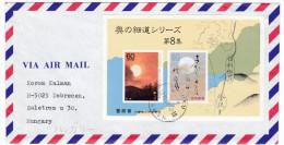 641 Japan 1989 Letter To Hungary Mi B135 Oku No Hosomichi  S/s - Cartas