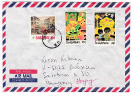 643 Singapore 1989 Letter To Hungary Paintings Of Chinatown Children's Drawings Stamps - Singapour (1959-...)
