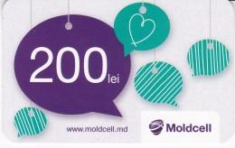 Moldova , Moldavie  Moldau , Prepaid  Phonecard - Moldcell , 200 Lei , Type 1 , Paper , Used - Moldova