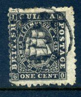 British Guiana 1863-76 Ship (p.10) - 1c Black Used (SG 85) - Guyana Britannica (...-1966)