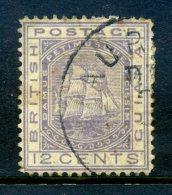 British Guiana 1876 Ship (Wmk. Crown CC) - 12c Pale Violet Used (SG 131) - British Guiana (...-1966)