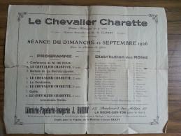 Programme - Le Chevalier Charette - Le Givre (85) Château - 12 Septembre 1926 - M.B Clenet - Drame Historique En 4 Actes - Programs