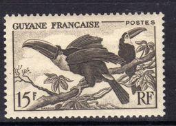 Guyane N° 214 X Aspects De La Guyane : Toucans : 15 F. Brun-noir Trace De Charnière Sinon  TB