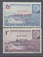 Martinique N° 196 / 97 X  La Paire Maréchal Pétain Surchargée Oeuvres Coloniales, Trace De Charnière Sinon TB.