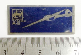 Airplane Sailplane Antonov A-9 Soviet Union Metal Badge Pin USSR Aviation Avia Brass 40x18mm - Aerei
