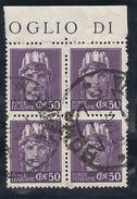 1945-Turrita-Imperiale Senza Fasci-Yv 465-Quartina - 6. 1946-.. Repubblica