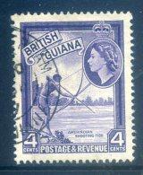 British Guiana 1954 QEII Pictorials - 4c Indian Shooting Fish Used (SG 334) - Guyane Britannique (...-1966)