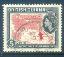 British Guiana 1954 QEII Pictorials - 5c Map Of Caribbean Used (SG 335) - British Guiana (...-1966)