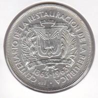 MONEDA DE PLATA DE LA REP. DOMINICANA DE 1 PESO DEL AÑO 1963 DEL CENTENARIO DE LA REPUBLICA (COIN) SILVER-ARGENT. - Dominicaine