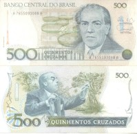 BRAZIL BRESIL BRASIL - 500 CRUZADOS - HECTOR VILLA LOBOS MUSICO MUSICIEN COMPOSER COMPOSITOR BILHETE BILLETE BANK NOTE - Brazil