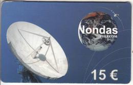 NETHERLANDS - Satellite Dish & Globe, Nondas Telecom Global Prepaid Card 15 Euro, Exp.date 01/01/01, Used - Raumfahrt