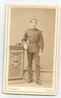 Photo Format Cdv Vers 1880 Militaire Du 10e Dragons Cavalerie Dijon - War, Military