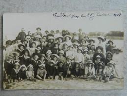 LE POULIGUEN  CARTE PHOTO BAINS DE MER JUILLET 1913 OU 1918 - Le Pouliguen