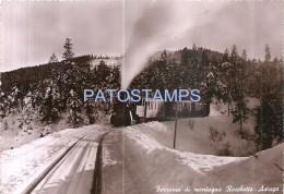 58544 ITALY ASIAGO VICENZA RAILROAD TRAIN MOUNT ROCCHETTE CIRCULATED TO ARGENTINA POSTAL POSTCARD - Italie