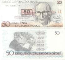 CARLOS DRUMMOND DE ANDRADE - 50 CRUZADOS NOVOS - BRASIL BRESIL BRAZIL BILLETE BILHETE BANK NOTE AÑO 1990 POETA PERIODIST - Brazil