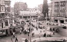 AMSTERDAM - Leidseplein, Strassenbahn, Belebte Strassenansicht, Orig.Fotokarte Um 1950 - Amsterdam