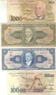 BRASIL BRAZIL BRESIL 4 BILHETES BILLETES BANK NOTES DIFFERENT DIFERENTES DIFFERENTES - Brazil