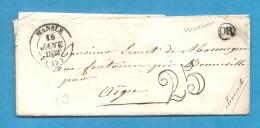CHarente - Mansle Pour Les Fontaines Près Bonneville. CàD Type 14 + Taxe 25. Origine Rurale De VILLOGNON - Marcophilie (Lettres)