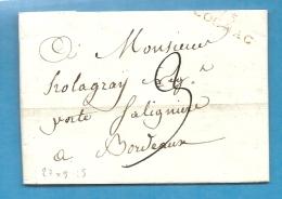 CHarente - Cognac Pour Holagray à Bordeaux. LAC De L'An XI - Marcophilie (Lettres)