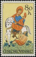 Czechoslovakia / Stamps (1972) 1987: Horsemanship (St. Martin, Glass Painting); Painter: Bedrich Housa - Vetri & Vetrate