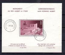 Monument Au Roi Albert à L'Yser, BF 8*(cachet FDC),(pli),  Cote 40 €   Timbre Parfait - Blocks & Sheetlets 1924-1960