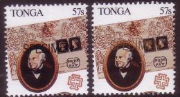 Tonga 1989 Specimen Ovpt In Gold + Specimen Ovpt In Black - Rowland Hill - 1d Black Cover