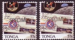 Tonga 1989 Specimen Ovpt In Gold + Specimen Ovpt In Black - Space - Apollo
