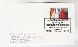 1976 Cover TELFORD BRIDGE 150TH ANNIV Event Conway Gb Stamps - Bridges