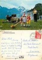 Alpenhorn And Children, Ebenalp, AI Appenzell, Switzerland Postcard Posted 1965 Stamp - AI Appenzell Rhodes-Intérieures