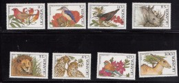 1987 Uganda Birds And Animals Kingfisher Lion Rhino Complete Set Of 8 MNH - Uganda (1962-...)
