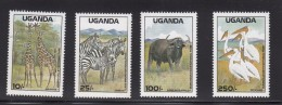 1988 Uganda Game Preserves Giraffe Buffalo Zebra Complete Set Of 4 MNH - Uganda (1962-...)